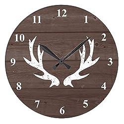 Wall Clocks Decorative for Living Room Vintage Rustic Hunting Deer Antler Wood Quartz Wall Clock 12 inches
