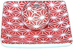 赤色麻葉 小角皿 お香立て 陶器 ACSWEBSHOPオリジナル