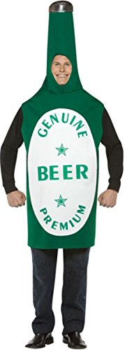 Rasta Imposta Lightweight Beer Bottle Costume, Green/White, One Size