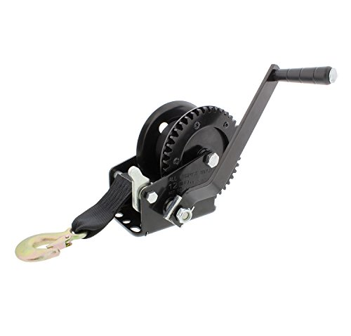 Crank Winch with Boat Winch Strap and Hook – Single Gear 1,200 lbs – ATV, Boat Trailer Winch ()
