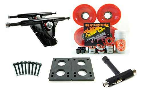 民間もう一度クリエイティブ180mm Trucks 70mm Wheels T-Tool Combo (Black Trucks, Solid Red) by Big Boy