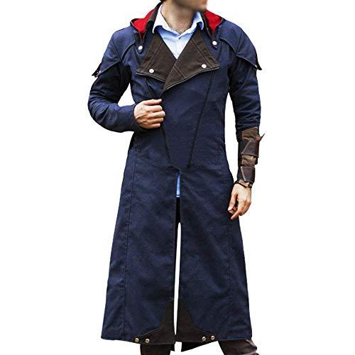 Kahfleathers Assassin's Creed Unity Arno Dorian Denim Cloak Blue Color Costume Long Trench Coat (XLarge Jacket Chest 50