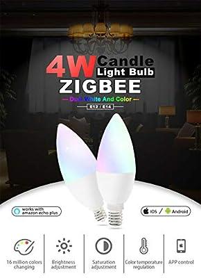 Gledopto Candelabra Base Multi-Color 4 watt Bulb U.S. E12 Base Zigbee Light Link, RGB+CCT