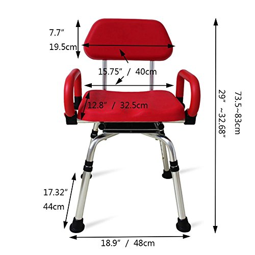 TSAR003 High-End Luxury 360 Degree Rotating Bathroom Chair With Backrest And Handrails, Comfortable Soft Seat, Adjustable Height, Waterproof Anti-Skid, 400 Pounds Load by TSAR003 (Image #5)
