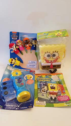 Kids toy bundle 4 Paw Patrol Finger Puppets! Sponge bob Keychain: Sponge bob Stick on Sponge! Finding Dory with Nimo Projector Light (2 Packages not Perfect)]()