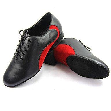 Moderno Personalizables de Zapatos Baile Rojo Tacón Jazz Latino baile Red de Cuadrado Azul Zapatillas v1wd1z