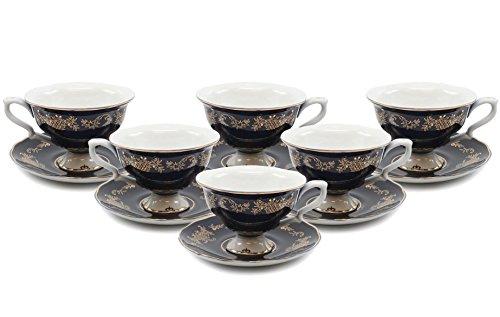- Royalty Porcelain 12-pc, Set for Tea or Cofee, Fine Bone China Porcelain (Dark Cobalt Blue)