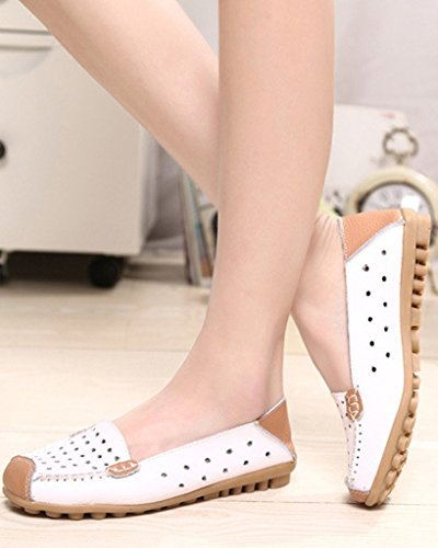 Mine Tom Mujer Moda Los Zapatos Del Holgazán Hueco Zapatillas De Mocasín Talón Plano Verano Zapatos Blanco