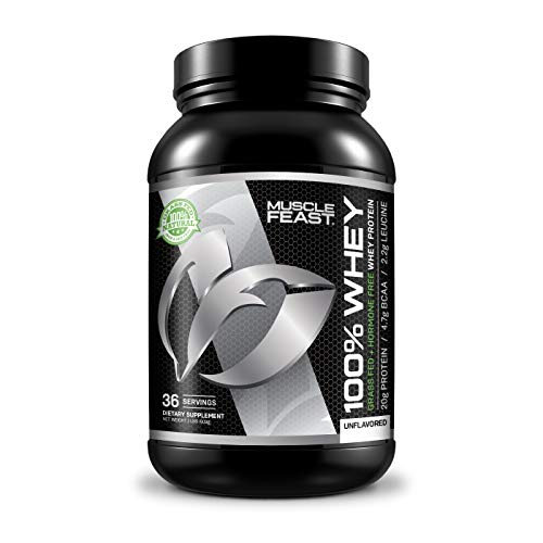 100% Whey Protein | Grass Fed & Hormone Free | Blend of Concentrate, Isolate, and Hydrolyzed Whey Protein (2lb, Unflavored)