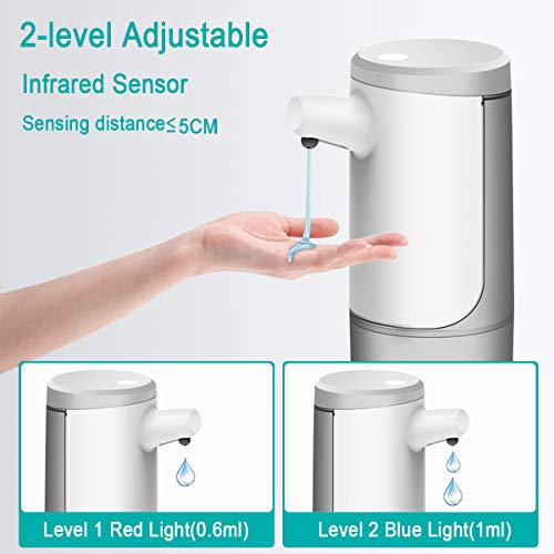XUNPAS Automatic Soap Dispenser,Automatic Hand Sanitizer Dispenser with Waterproof Base Suitable for Bathroom Kitchen Hotel Restaurant