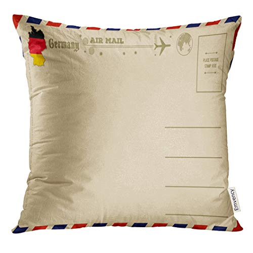 UPOOS Throw Pillow Cover Back Vintage with Map of Germany Air Airmail Decorative Pillow Case Home Decor Square 16x16 Inches Pillowcase
