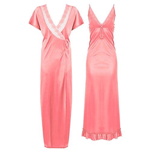 Womens sThe naranja etiquetas atin encaje largo camisón transparente camisón semitransparente–Camisola–Túnica vestidos de novia 6–12 rosa pastel
