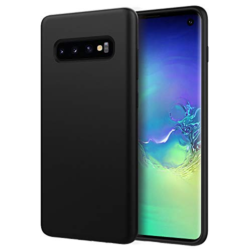 MoKo Compatible with Galaxy S10 Case, Shockproof Slim Fit Liquid Silicone Gel Rubber Protective Case Soft Touch Back Cover Fit with Samsung Galaxy S10 6.1 inch 2019 - Black