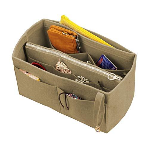[Fits Neverfull MM/Speedy 30, Khaki] Felt Organizer (with Detachable Middle Zipper Bag), Bag in Bag, Wool Purse Insert, Customized Tote Organize, Cosmetic Makeup Diaper Handbag