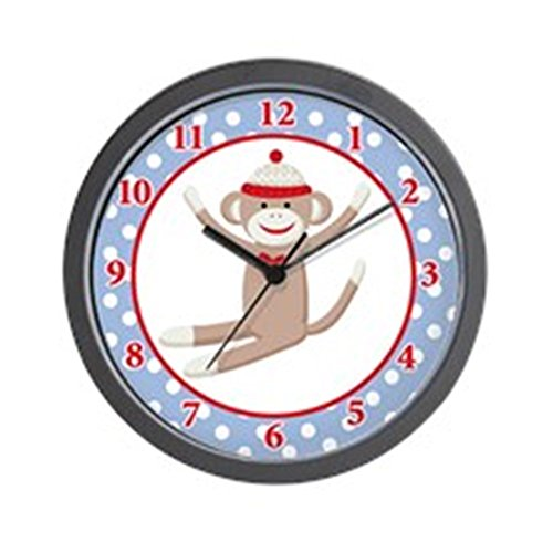 CafePress Sock Monkey Wall Clock - Blue/Red Unique Decorative 10