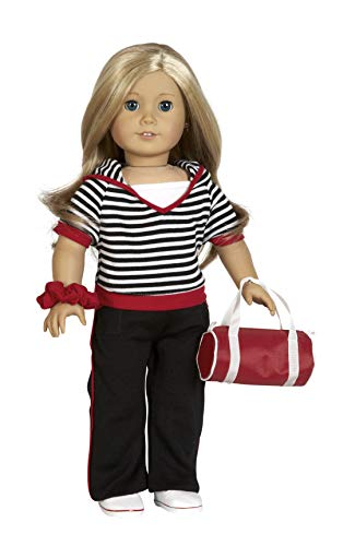 "Diana Collection Black, White and Red Hoodie and Pants Set. Complete Outfit with Shoes and Bag. Fits 18"" Dolls like American Girl"