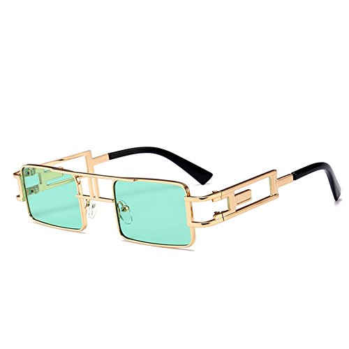 Steampunk Sunglasses Rectangle Men Gold Black Red Flat Top Square Sun Glasses Inspired Metal Frame Glasses for Women 2018 (Green)