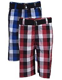 Quad Seven Boys' Belted Plaid Cargo Shorts Set (2 Pack)