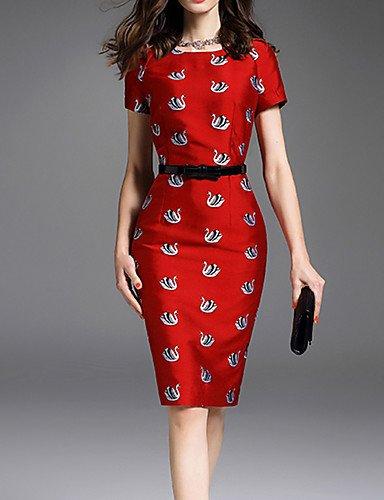 JIALE3536 Vestido Fiesta Mujer,De Fiesta Una Línea De Mujeres Visten,Impresión Por Encima De La Rodilla Con Cuello Redondo Manga Corta Rojo