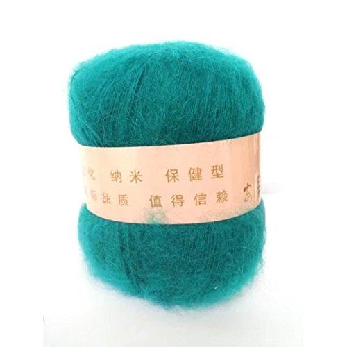 ふごも モヘア カシミア毛 ウール 毛糸 編み糸 ピーコックグリーン 50g セーターを編む 52%モヘア 48%カシミア