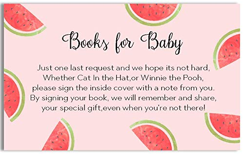 Watermelon Baby Shower Bring A Book Cards Book Inserts Games Activities Gifts Watermelons BabyQ BBQ Summer Soiree Pink Red Green Black Pool Party Baby's First Book Babies Library (25 count)