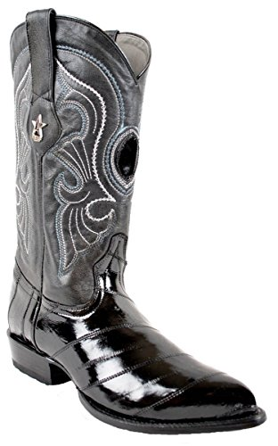Mens Los Altos Véritable Peau Danguille J Toe À La Main Tendance Western Boot Urbain Noir