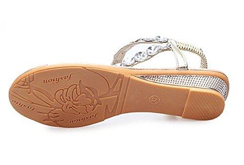 Vrouwen Sandalen Bling Strass Flats Sandalen Mode Flip Flops Schoenen Goud