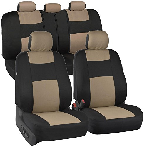 BDK OS-309-BG Polypro Black/Car Seat Cover, Easy Wrap Two-Tone Accent for Auto, Split Bench, Tan Beige 1997 2001 Honda Crv Auto