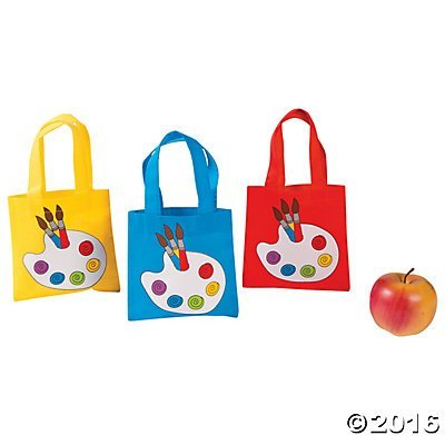 - Little Artist Paint Palette Tote Party Favor Bags - 12 ct