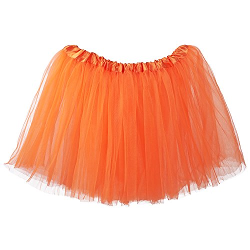 My Lello Adult Tutu Skirt, Classic Elastic 3 Layer Tulle Tutu for Women and Teens - Orange ()