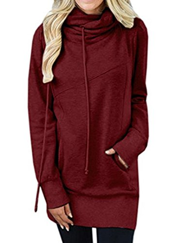 Knit Hooded Pullover - HOTAPEI Ladies Hooded Sweatshirt Women Cowl Neck Fit Tunic Long Sleeve T Shirt Kangaroo Pocket Knit Top Blouses Pullover Hoodie Burgundy Small