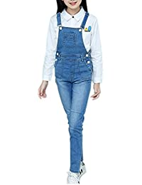 c1314fc64498 Girls Big Kids Distressed Denim Overalls Blue Jeans Strecthy Ripped Jeans  Romper