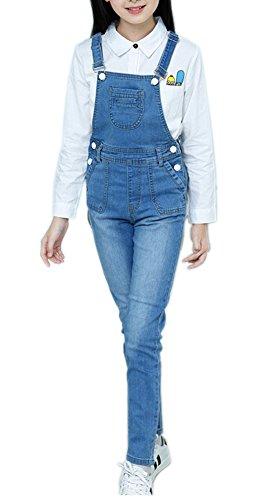 Sitmptol Girls Little Big Kids BF Long Jeans Cotton Denim Bib Overalls Light Blue Long by Sitmptol