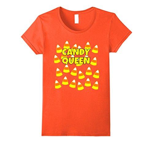 Candy Queen Costumes (Womens Halloween Candy Corn t shirt: Candy Queen XL Orange)