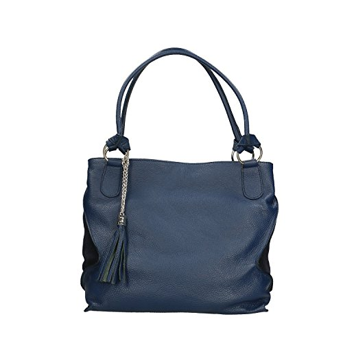 Chicca Borse Handbag Borsa a Mano in Vera Pelle Made in italy - 36x28x17 Cm Blu