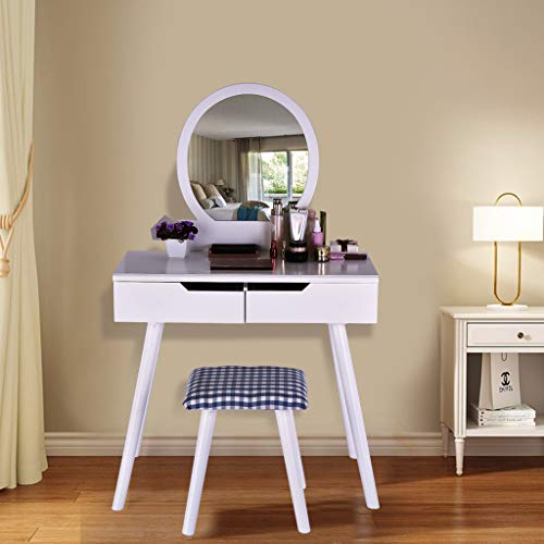 Eoeth Multifunction Vanity Table Set Flip Top Round Mirror Makeup Dressing Writing Desk with 2 Large Sliding Drawers Cushioned Stool Removable Organizers Easy Assembly (Ship by USA) (White) Free Post (Vanity Set Table Furniture)