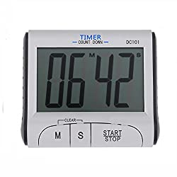 Large LCD Digital Kitchen Timer Stopwatch Clock Sports Countdown Up Timer Magnetic Backing Stand Loud Alarm Cooking Timers Clock for Cooking Baking Sports Games Office (Battery included)
