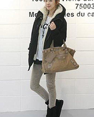 Outwear Mujer Capucha Lana Parka Negro Abrigo Invierno Falsa Chaqueta Casual Jacket Con Capa De SqrWqFwtxf
