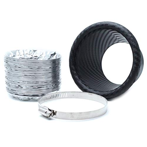 Carbon Fiber Intake Duct - AUTUT Universal Car Air Intake Pipe Carbon Fiber Round Type Air Funnel Kit