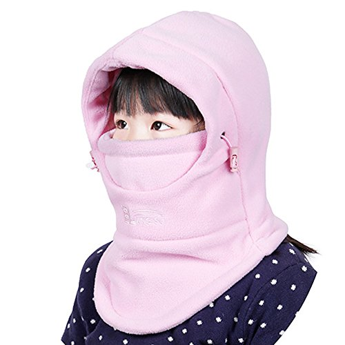 Leories Childrens Winter Windproof Cap Thick Warm Face Cover Adjustable Ski Hat Pink 2