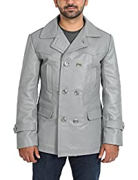 Mens Real Leather Double Breasted Reefer Peacoat Gents Jacket Salcombe Grey