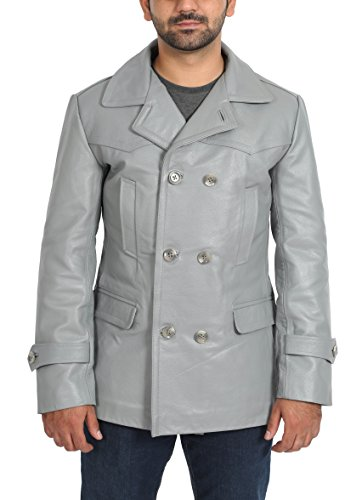 Mens Real Leather Double Breasted Reefer Peacoat Gents Jacket Salcombe Grey (XX-Large)