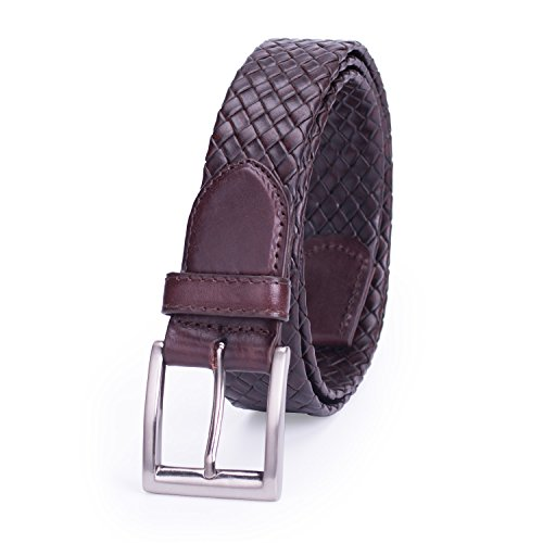 30 Hand Braided Belt - POYOLEE Men's Tubular Braided Genuine Leather Belt, Brown, S