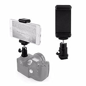 VizGiz Universal 1/4 Screw Flash Hot Shoe Mount Adapter Cradle Ball Head Ball With Lock + Phone Clip Bracket Holder Clip Kit Fit For Canon Nikon Sony Pentax Olympus Ricoh Panasonics DSLR SLR Camera