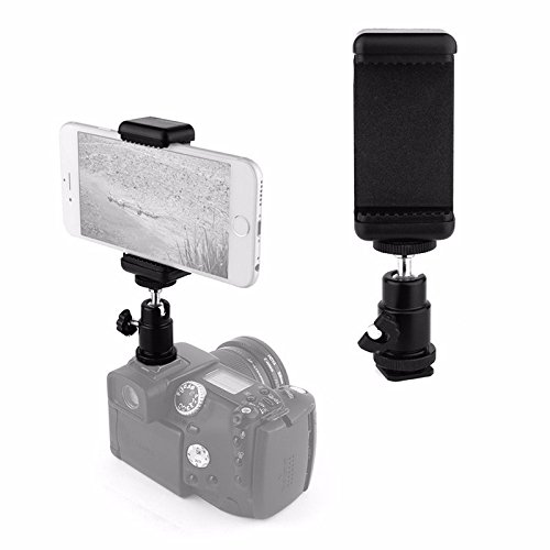 VizGiz Universal 1/4 Screw Flash Hot Shoe Mount Adapter Cradle Ball Head Ball With Lock + Phone Clip Bracket Holder Clip Kit Fit For Canon Nikon Sony Pentax Olympus Ricoh (Dslr Mount Adapter)