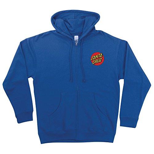 (Santa Cruz Skateboards Classic Dot Hooded Zip Sweatshirt X-Large Royal)