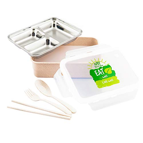 IVBY Bento Box – Eco-Friendly Wheat Straw and Stainless Steel Bento Lunch Box – Includes Fork, Spoon and Chopsticks – Multiple Compartments – Microwave Safe – Leakproof