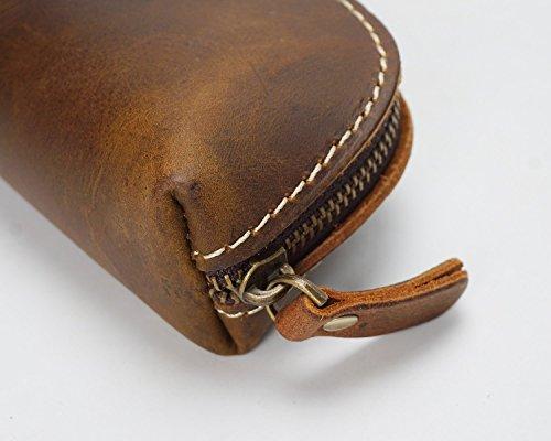 Ju First Bag Vertical Pencil sheng Leather Manual Zipper Cowhide Retro Layer Brown Tool R6Rwr