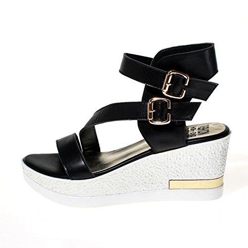 AmoonyFashion Womens Solid Soft Material High-Heels Buckle Open-Toe Sandals Black WA7tZE2