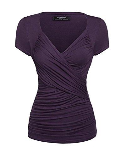 COMVIP en Bandage Crois Vogue Violet Courtes Coton V Femme T Pliss Top Manches Shirt Col SraUS7q